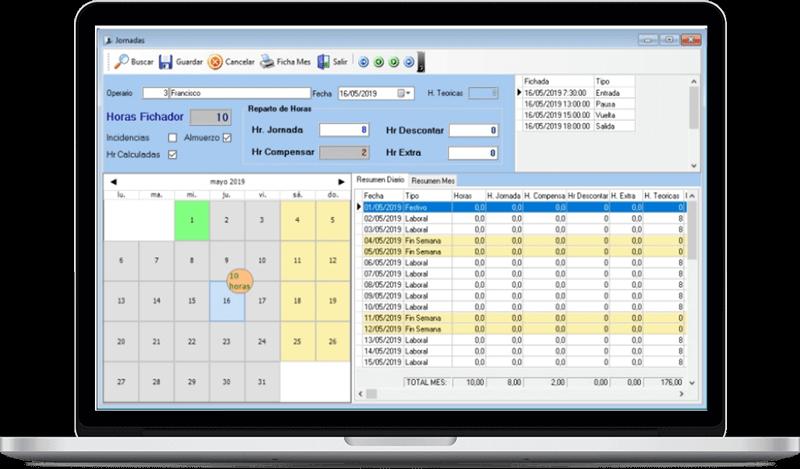 Programa de Control de Horario de Ontisoft, empresa informática y diseño web en Ontinyent